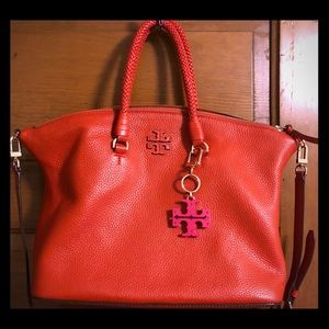 ❤️ Tory Burch Red Satchel with Logo Decor ❤️